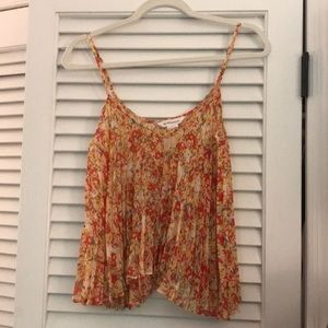 BCBG Floral Pleated Tank